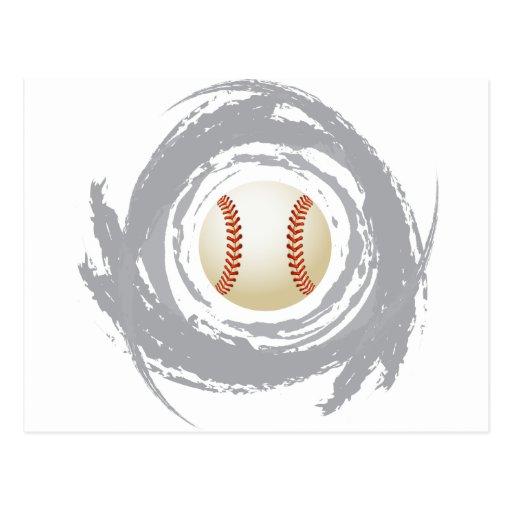 Nice Baseball Circular Grunge Post Cards
