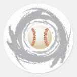 Nice Baseball Circular Grunge Round Sticker