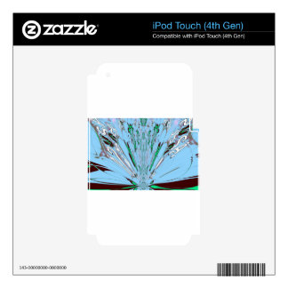 Nice Beautiful Aqua Blue  amazing  Floral Motif de iPod Touch 4G Decals