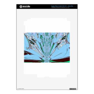 Nice Beautiful Aqua Blue  amazing  Floral Motif de Skin For iPad 3