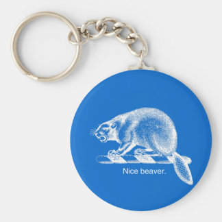 NICE BEAVER - WHITE -.png Keychain