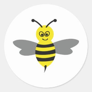 nice bee icon classic round sticker