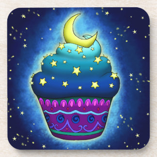 Nice blue Cupcake with moon and star Beverage Coaster