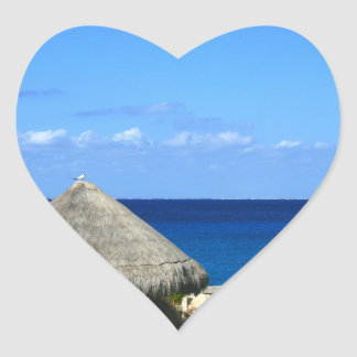 Nice Blue Ocean and Sky in Progresso Mexico Heart Sticker