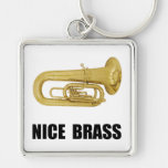 Nice Brass Tuba Silver-Colored Square Keychain