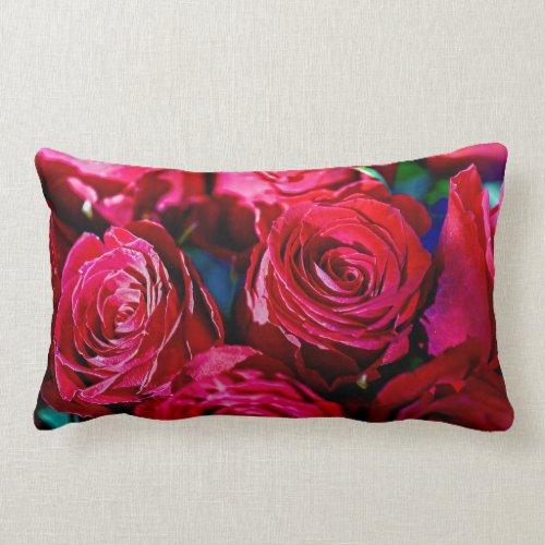 Nice Bunch Of Red Roses Lumbar Pillow