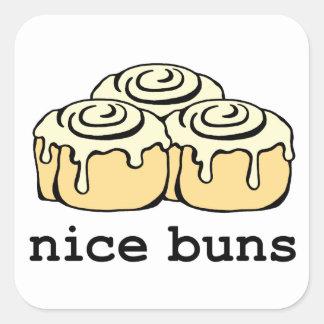Nice Buns Cartoon Cinnamon Roll Square Sticker