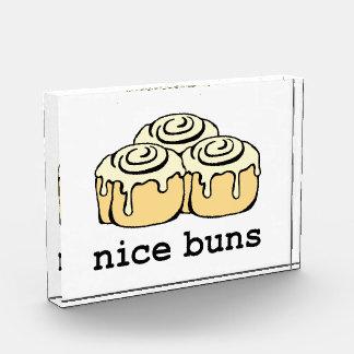 Nice Buns Cinnamon Roll Funny Cartoon Design Acrylic Award