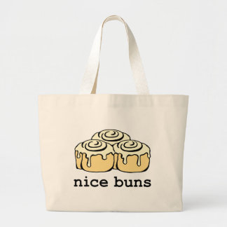 Nice Buns Cinnamon Roll Funny Cartoon Design Large Tote Bag