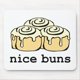 Nice Buns Cinnamon Roll Funny Cartoon Design Mouse Pad