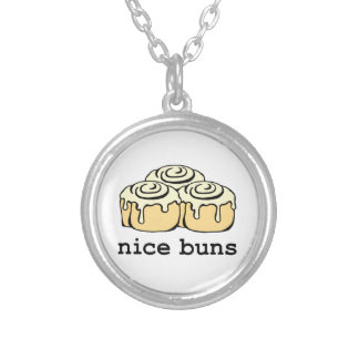 Nice Buns Cinnamon Roll Funny Cartoon Design Silver Plated Necklace