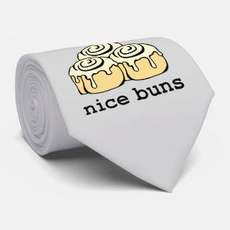 Nice Buns Cinnamon Roll Funny Cartoon Design Tie