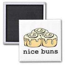 Nice Buns Funny Baking Pun Cartoon Cinnamon Rolls Magnet