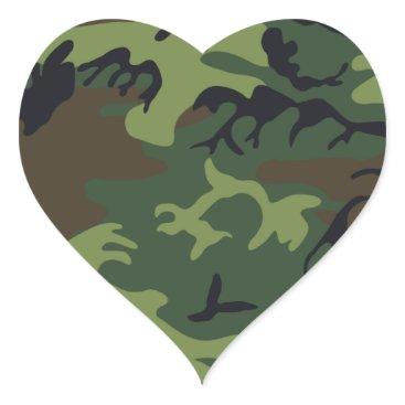 Nice Camouflage Design Heart Sticker