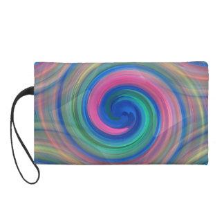 Nice candy swirl pattern with pink and purple wristlet purse