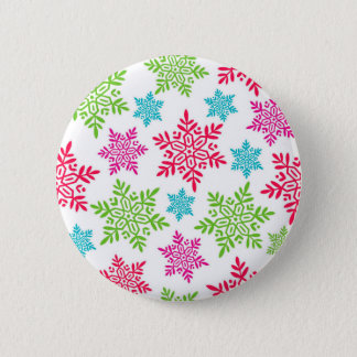 Nice Christmas Red, Green, pink, blue snowflakes Button