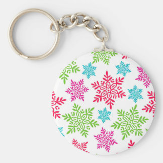 Nice Christmas Red, Green, pink, blue snowflakes Keychain