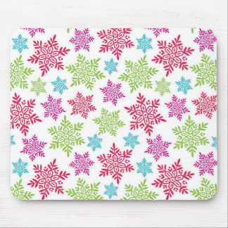 Nice Christmas Red, Green, pink, blue snowflakes Mouse Pad
