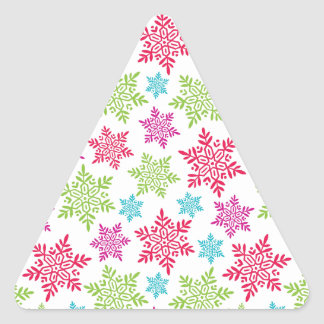 Nice Christmas red, green, pink, blue snowflakes Triangle Sticker