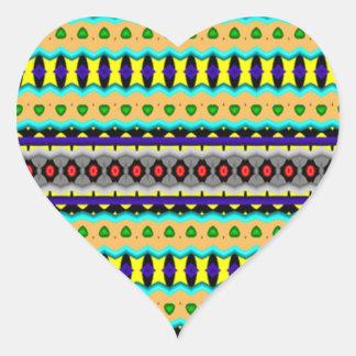 Nice colorful pattern heart sticker