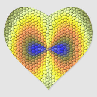 Nice Colorful Tiles pattern Heart Sticker