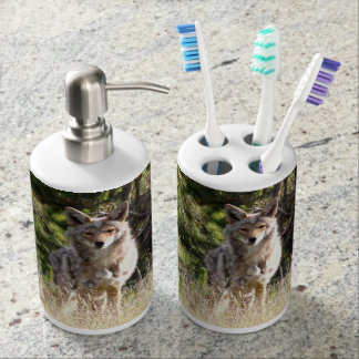 Nice Coyote photo in Yellowstone Soap Dispenser And Toothbrush Holder