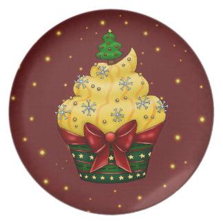 Nice Cupcake with Christmas tree Melamine Plate
