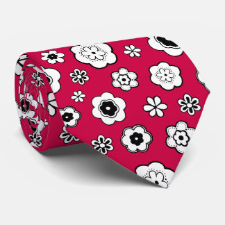 Nice daisies, flowers, with red background tie