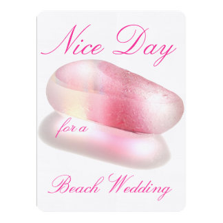 Nice Day for a Beach Wedding - Pink 6.5x8.75 Paper Invitation Card