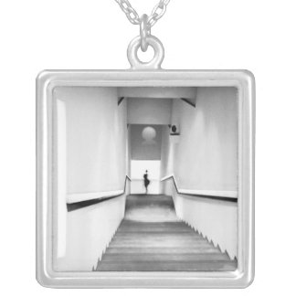 Nice France, Staircase Museum of Modern Art Square Pendant Necklace