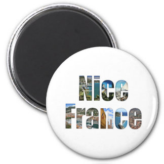 Nice, France tourist attractions in letters 2 Inch Round Magnet