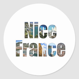 Nice, France tourist attractions in letters Classic Round Sticker