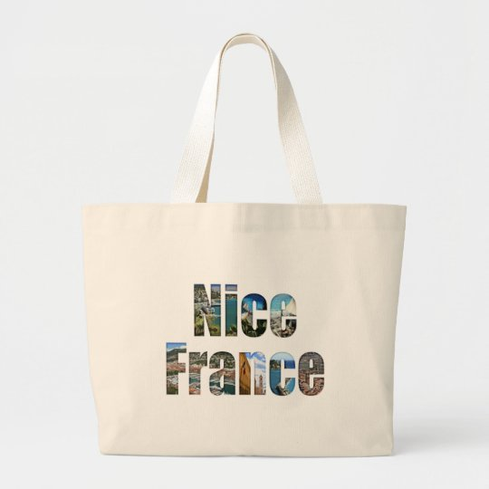 Nice, France tourist attractions in letters Large Tote Bag