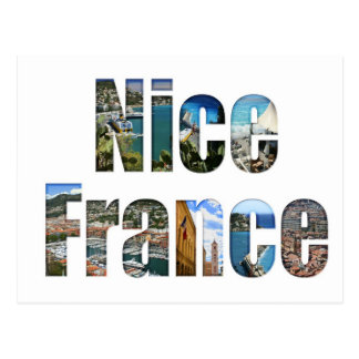 Nice, France tourist attractions in letters Post Cards