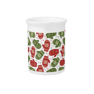 Nice fun red green Christmas Gloves and snowflakes Drink Pitcher