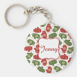 Nice fun red green Christmas Gloves and snowflakes Keychain