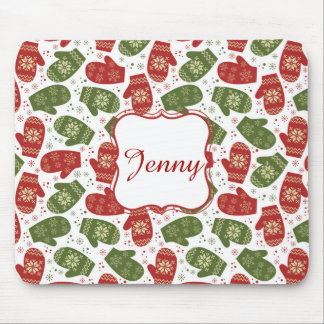 Nice fun red green Christmas Gloves and snowflakes Mouse Pad