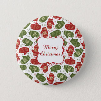 Nice fun red green Christmas Gloves and snowflakes Pinback Button