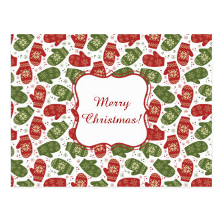 Nice fun red green Christmas Gloves and snowflakes Postcard