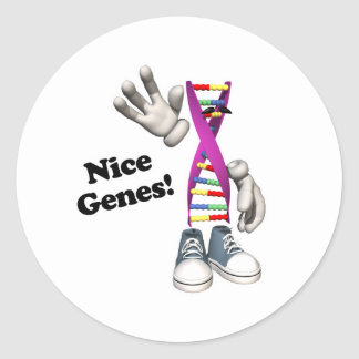 Nice Genes Funny DNA Strip Character Classic Round Sticker