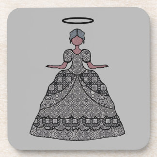 Nice Gray Patchwork Almost Angel Drink Coaster