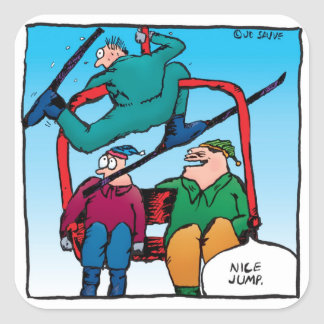 Nice Jump Cartoon Skiers Stickers
