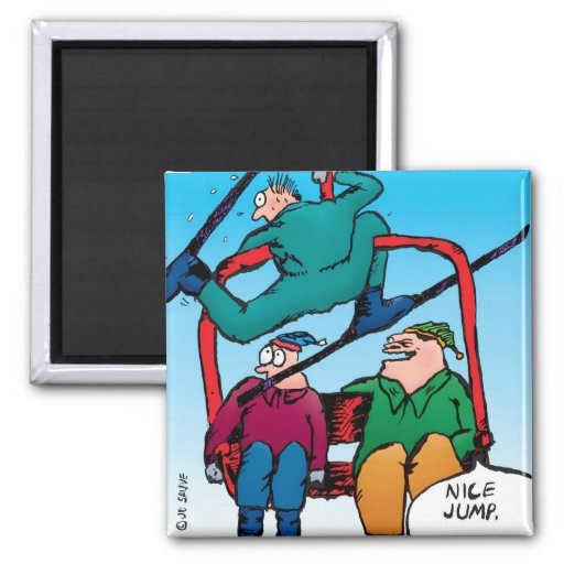 Nice Jump Skiers Cartoon Magnet 2 Inch Square Magnet