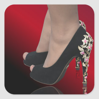Nice lady's shoes square sticker