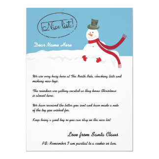 Nice List Snowman Letter From Santa Personalized Card