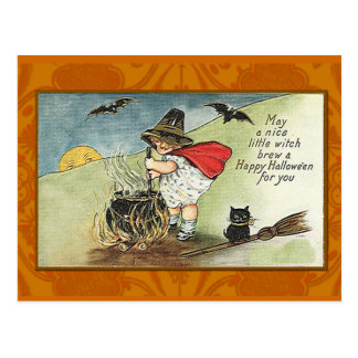 Nice Little Witch Vintage Halloween Card
