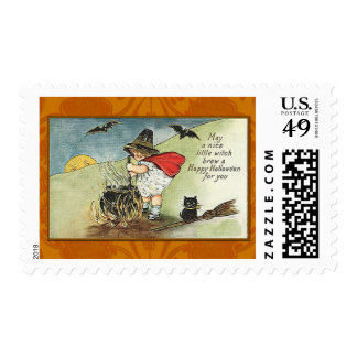 Nice Little Witch Vintage Halloween Card Stamp