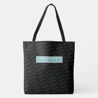 nice modern black all-over name-patttern tote bag