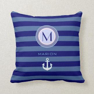 nice navy monogram beach house decor striped idea throw pillow