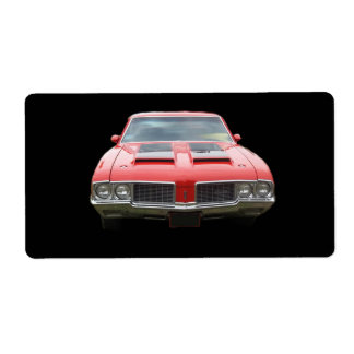 Nice orangish or red Oldsmobile Cutlass Label